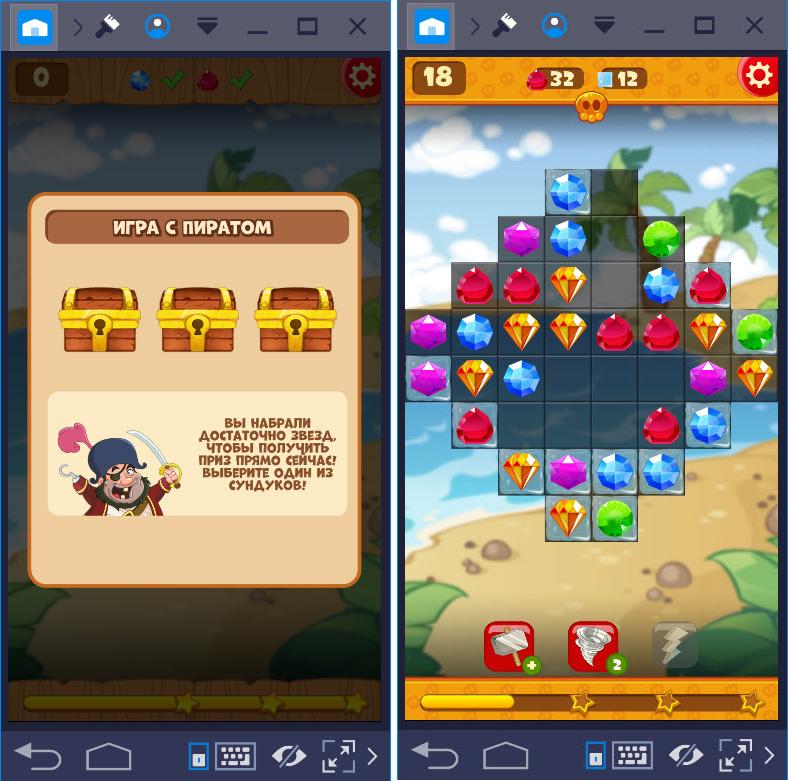 Игровой процесс Сокровища Пиратов